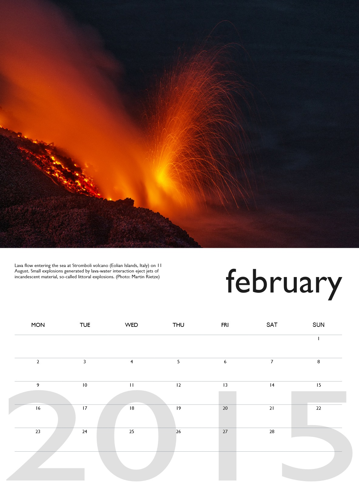 Volcano calendar 2015 - February preview